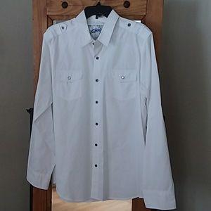 Chalc Men's Button Down White Shirt